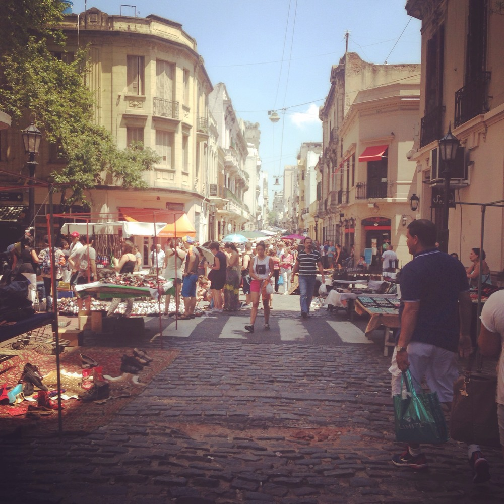 One of the many busy streets lined with market stalls in pretty San Telmo.
