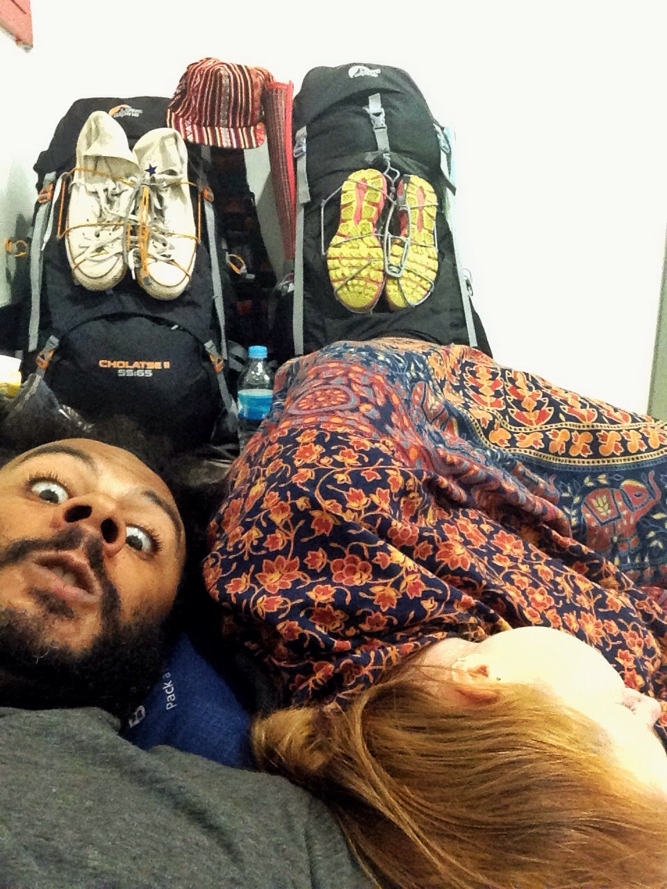 Our makeshift bed for the night in some dreary corner of Bogota airport