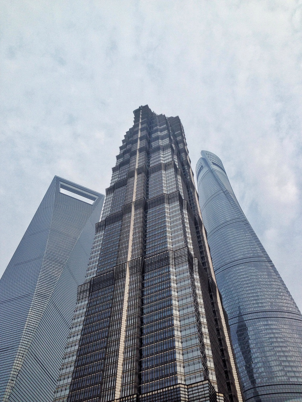 Left to right: Shanghai World Financial Centre, Jinmao Tower & Shanghai Tower.