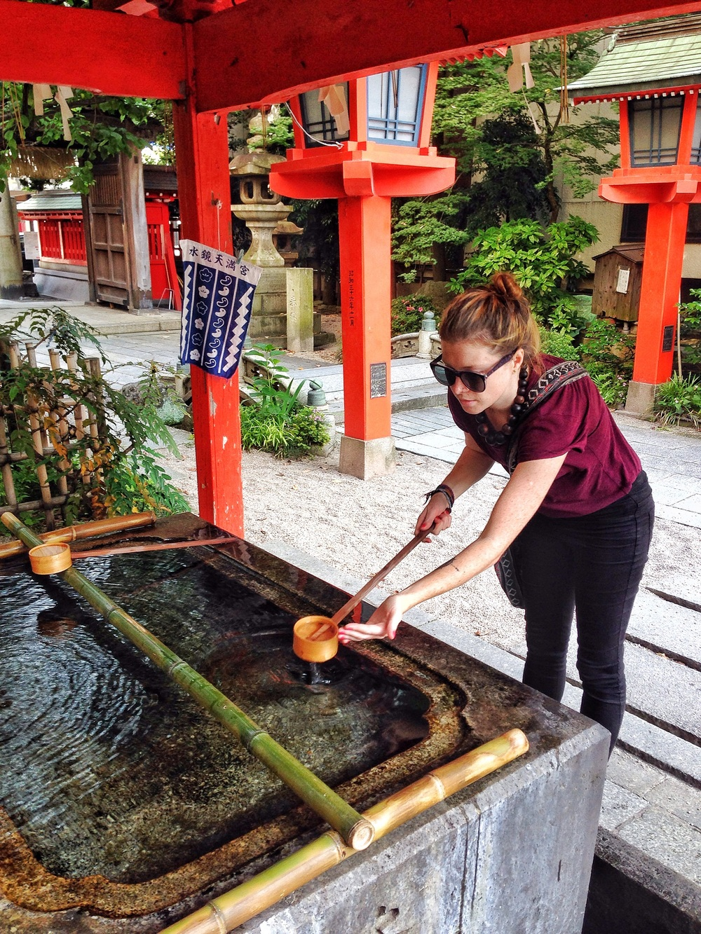 Cleansing my hands before entering the shrine.