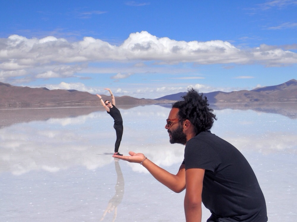 Larking around on the Salt Flats in Bolivia
