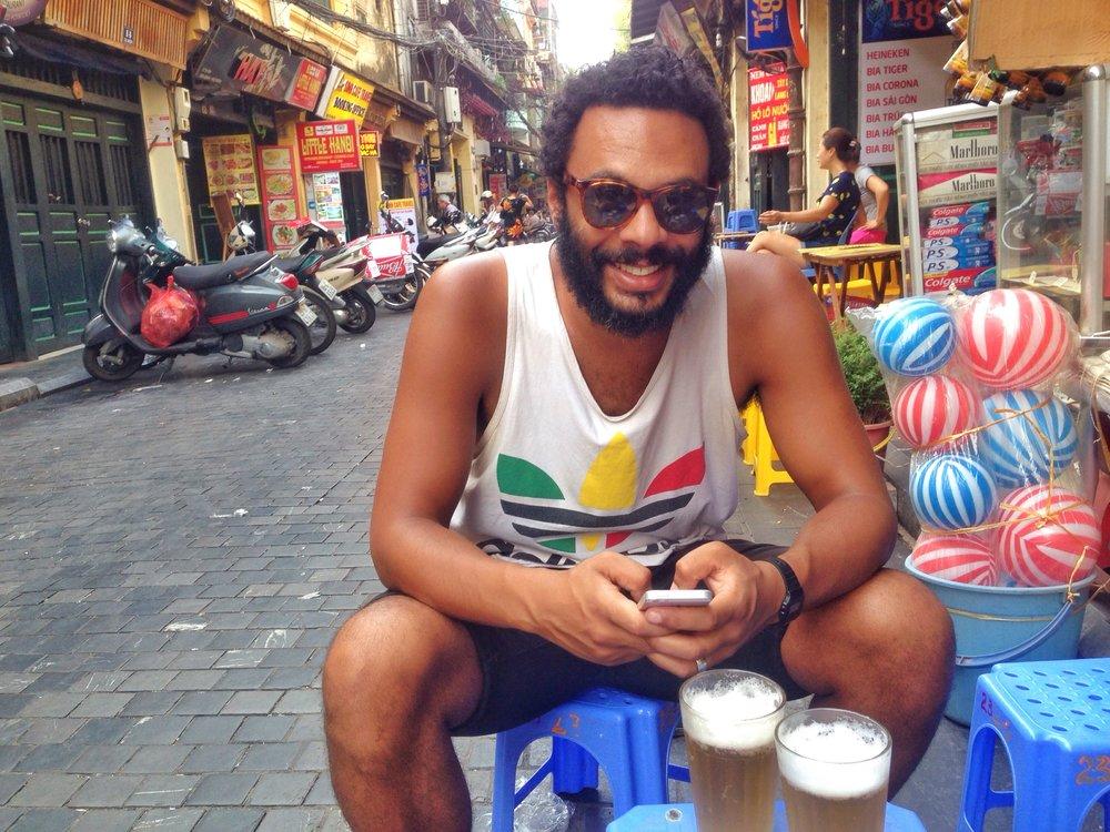 Drinking Bia Hoi on Beer Corner Hanoi