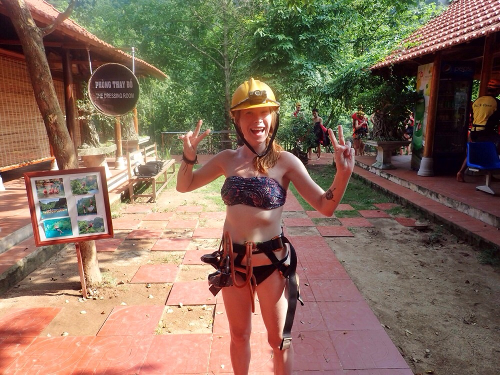 Sarah suited up and ready to go ziplining