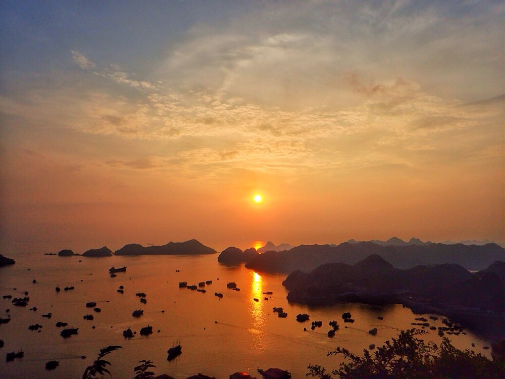 Sunset view from Cat Ba Fort Cannon.