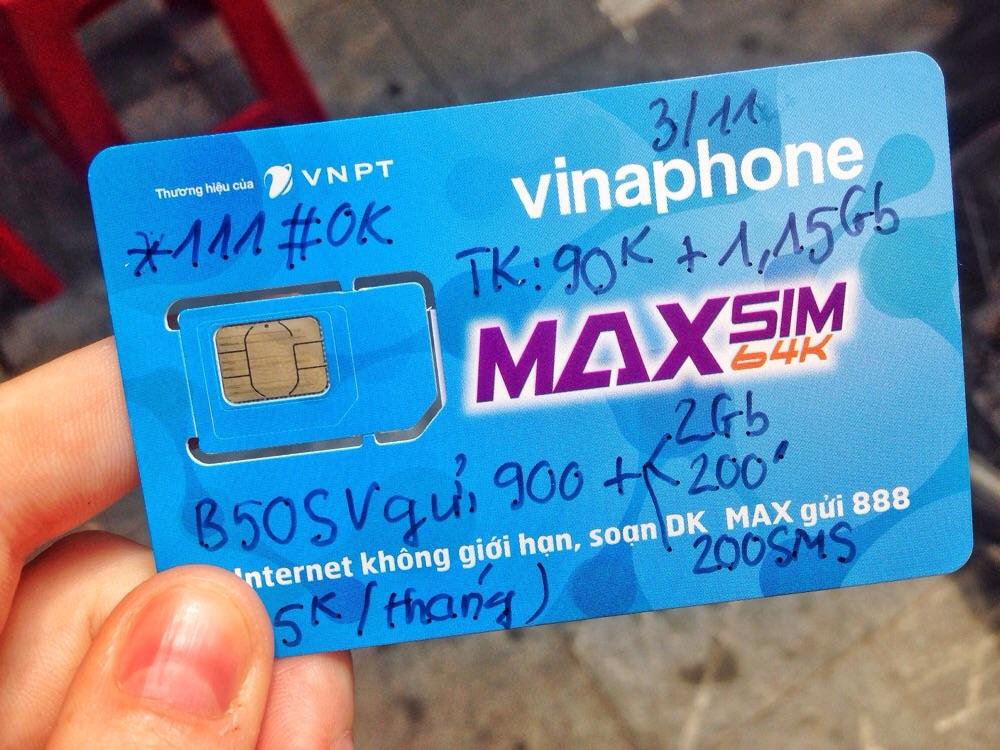 Vietnamese SIM card.