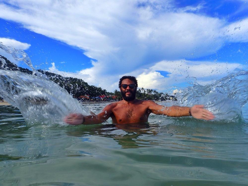 Larking about in the sea on Ko Samui