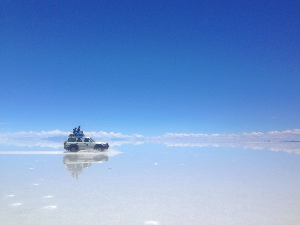 Jeep on the Bolivian Salt Flats