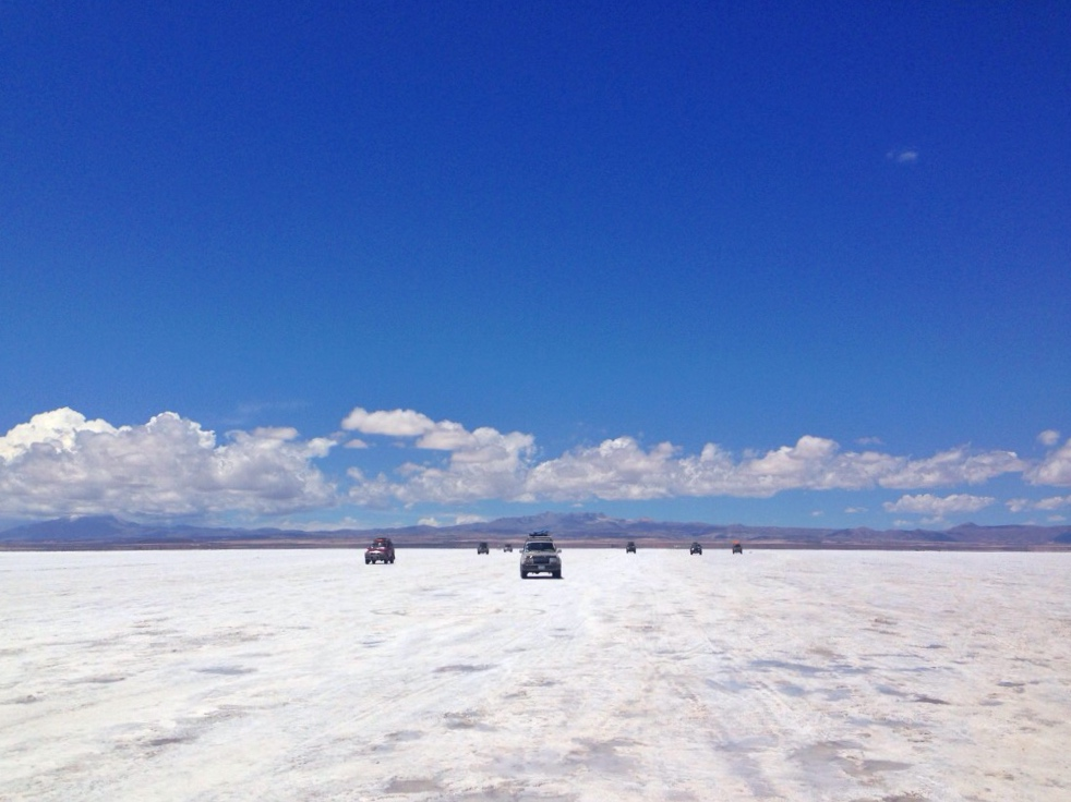 Convoy of Jeeps o  n the Bolivian Salt Flats