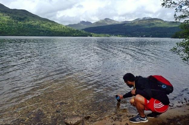 Filling my water bottle from Loch Lomond