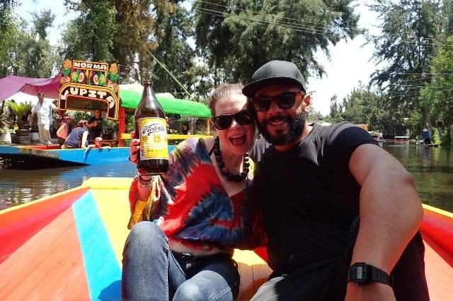 Enjoying the trajinera ride Xochimilco