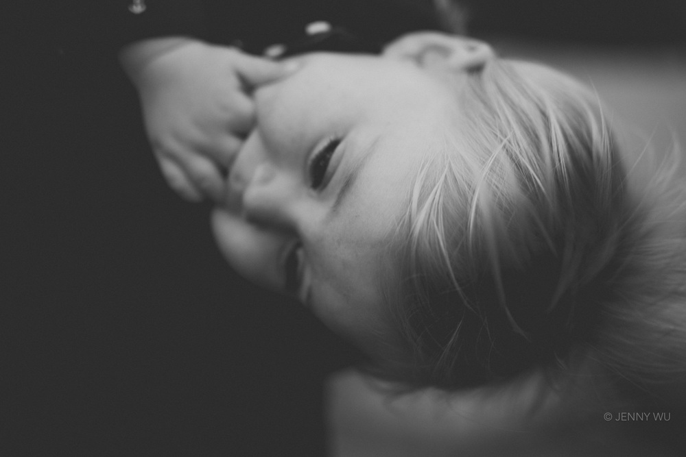Blond haired toddler black and white portrait