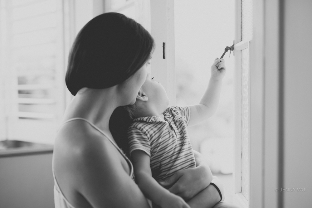 Black and white mother and son portrait