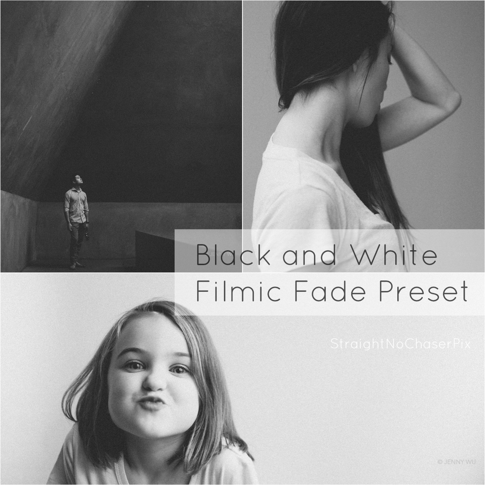 Black and white Lightroom preset Filmic Fade