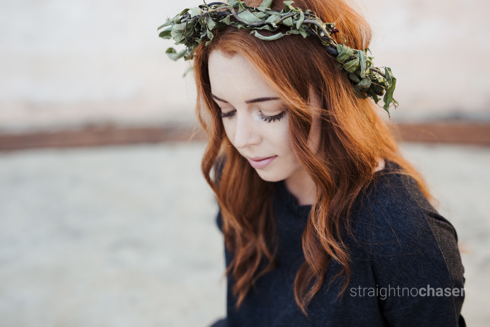 Red hair, flower crown: model shoot at Stromlo Canberra