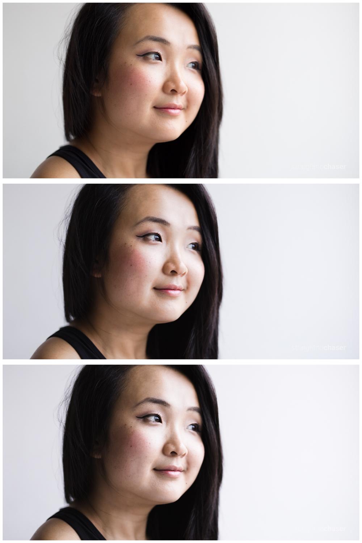 Comparison portrait edits (from top): Unedited, VSCOCam SE3-, SE3