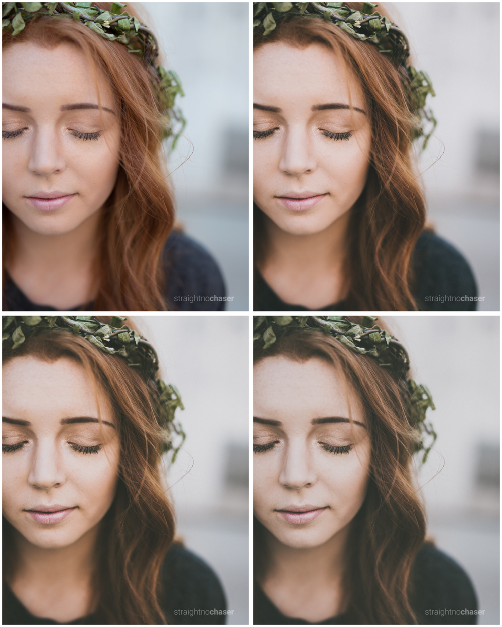 Portrait of Emily.  Unedited RAW (top left) M/Mellow Preset-  (top right), M/Mellow (bottom left), M/Mellow + (bottom right)