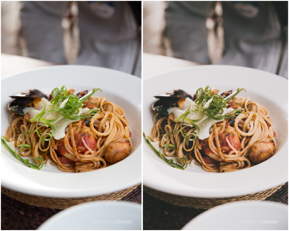 Food photography. Unedited RAW (left) M/Mellow-  Preset (right)