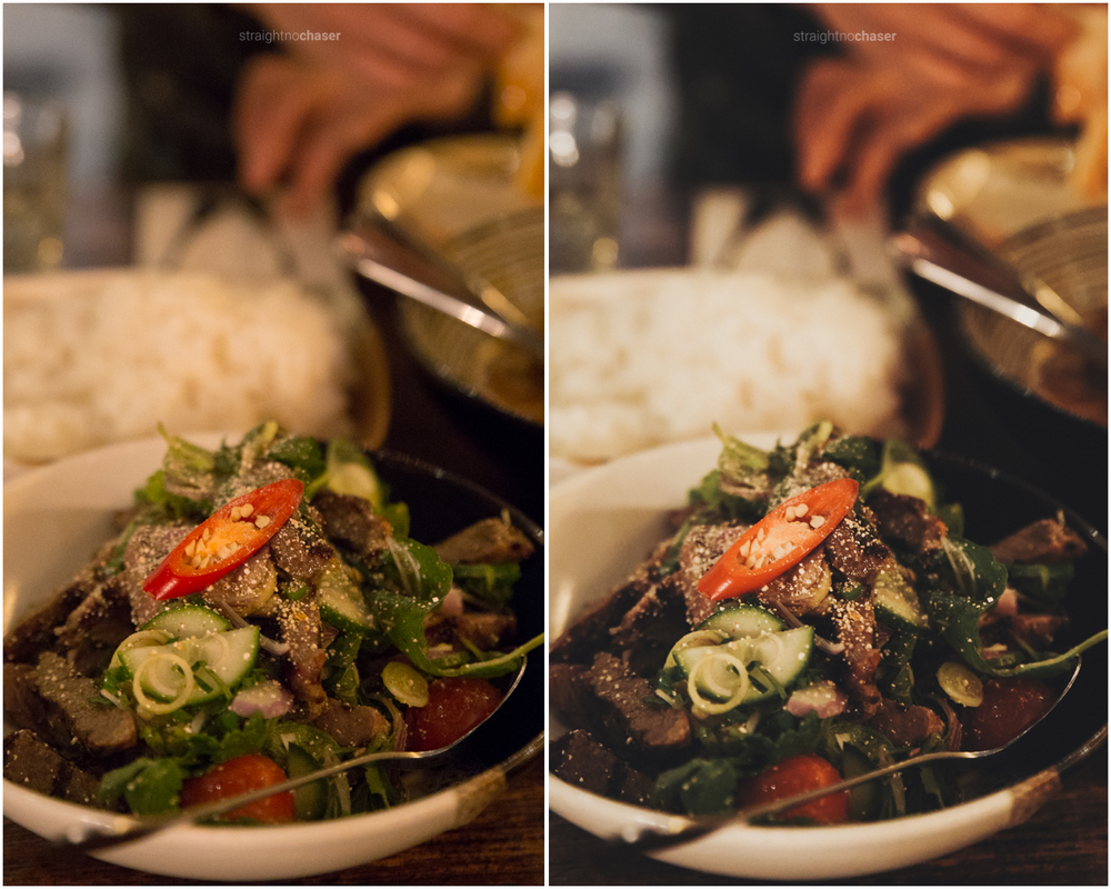 Introducing Foodie- a delicious Lightroom Preset for Food Photography: Night time restaurant images