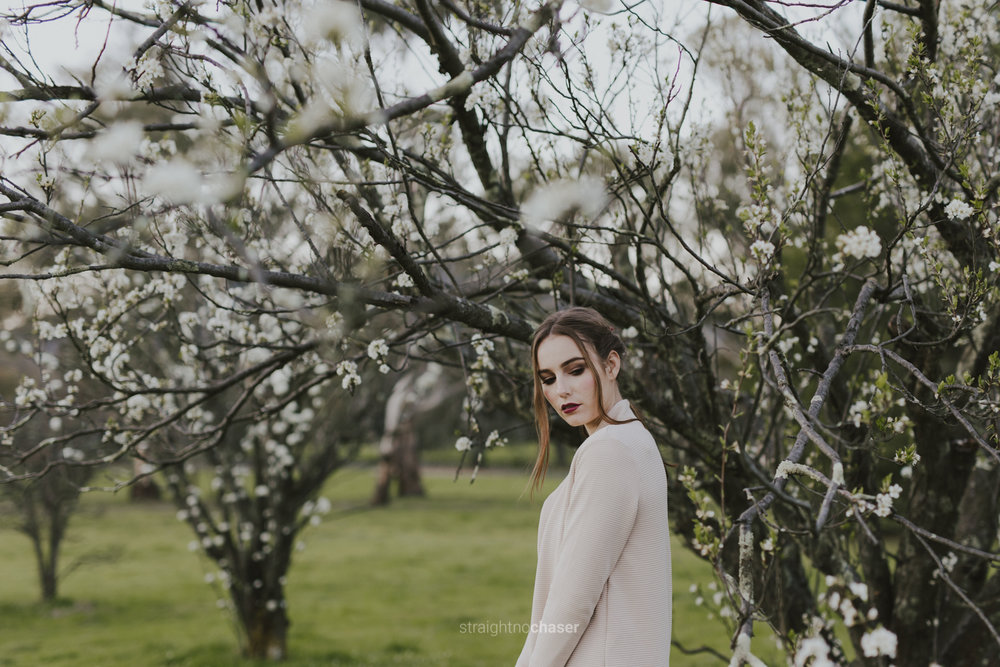 Cherry blossom editorial portraits Canberra