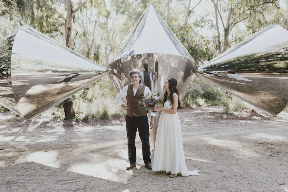 Sculpture Garden Wedding- Bert Flugelman 'Cones' steel sculpture