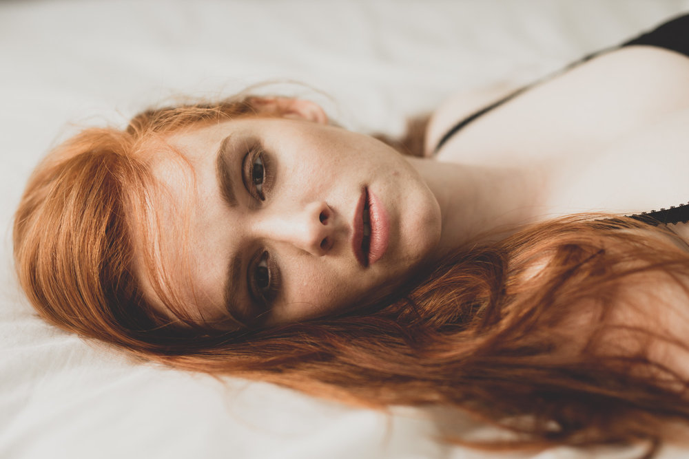 Courtney In Bed Editorial: Red Hair White Sheets
