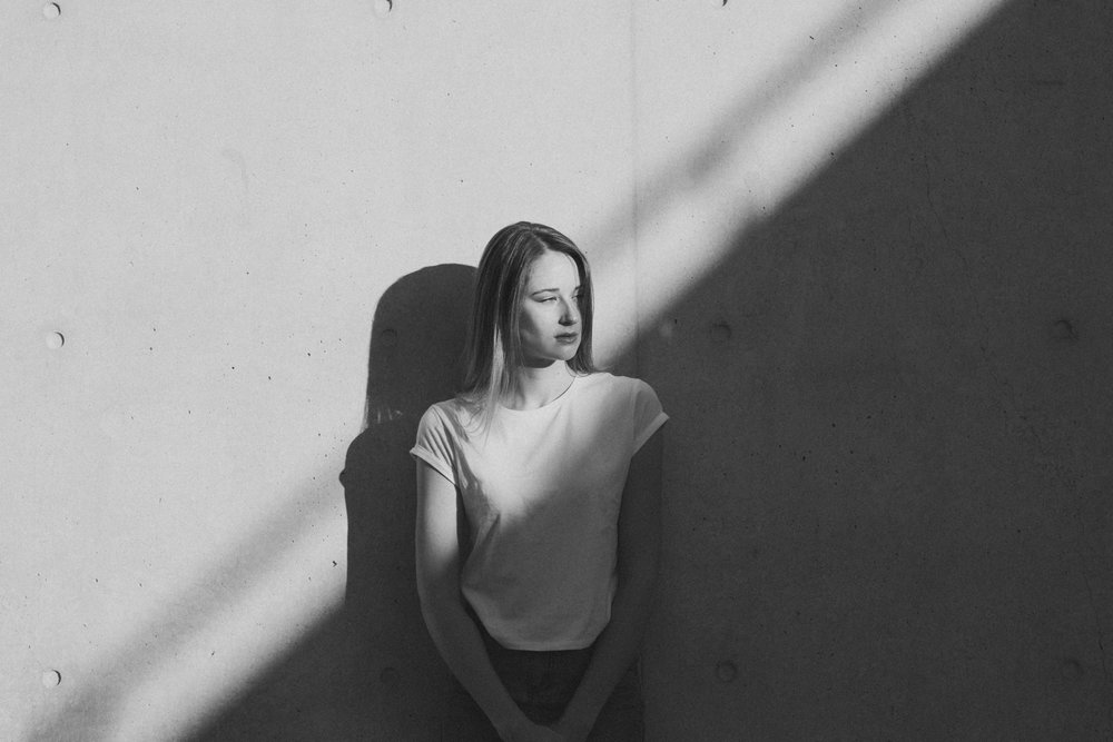 Minimalist portraits of Ashleigh at ANU- editorial Black and White