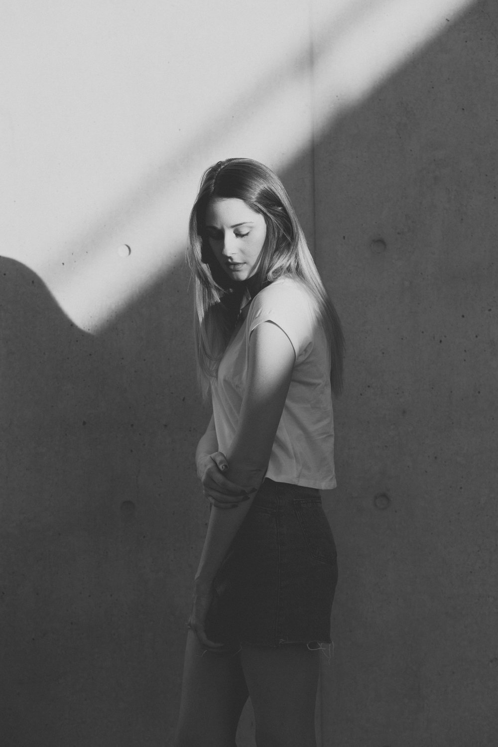 Minimalist black and white portraits of Ashleigh at ANU- editorial