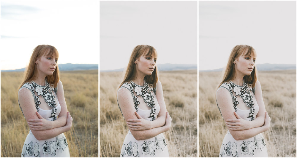 RAW (left), using Modern//Mellow preset (middle), skin tone tweaks applied (right)