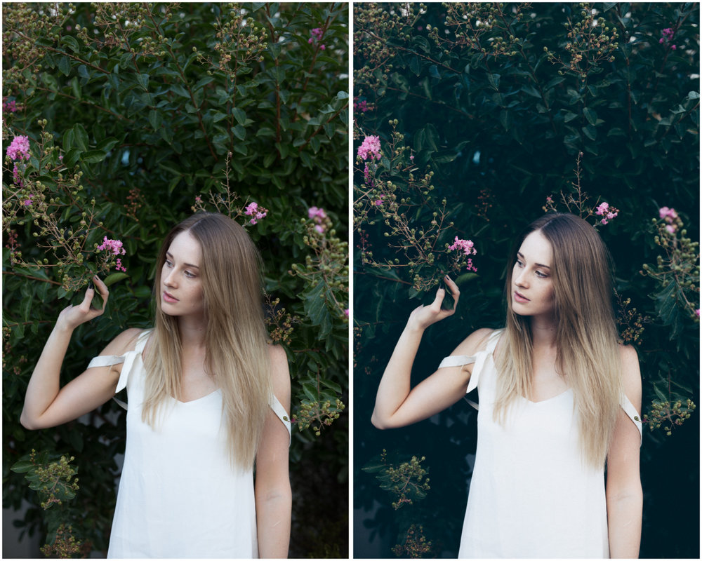 One click and it's done! Easy when shooting in natural light in open shade. RAW (left) and  HB2 preset  (right)