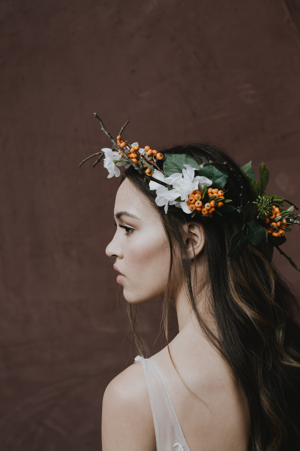 Flower crown National Gallery of Australia Wedding Portraits Editorial