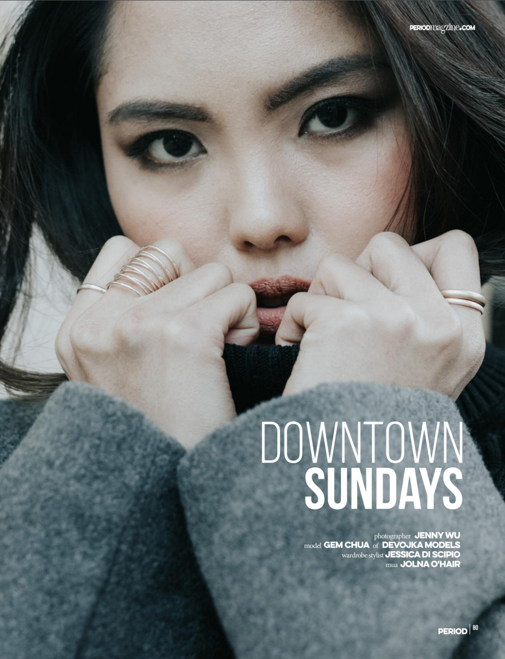 Downtown Sundays editorial: Photography Jenny Wu Gem wearing grey trench styled by Jess Discipio