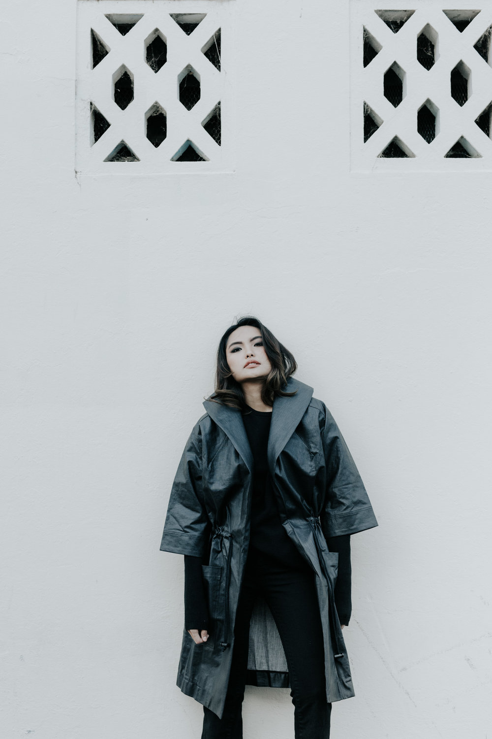 Downtown Sundays Editorial shot by Jenny Wu Straight No Chaser Photography Gem wears black Hunter raincoat