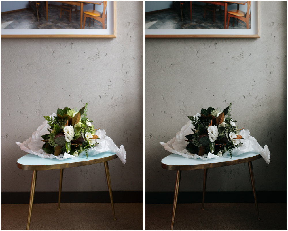 Floral still life. Before (left), and with Film Luxe 1 preset applied (right)