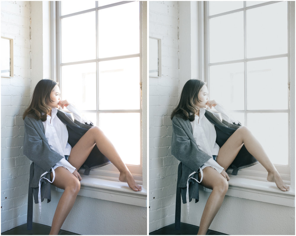 Editorial portrait. Before (left), and with Film Luxe 2 preset applied (right)