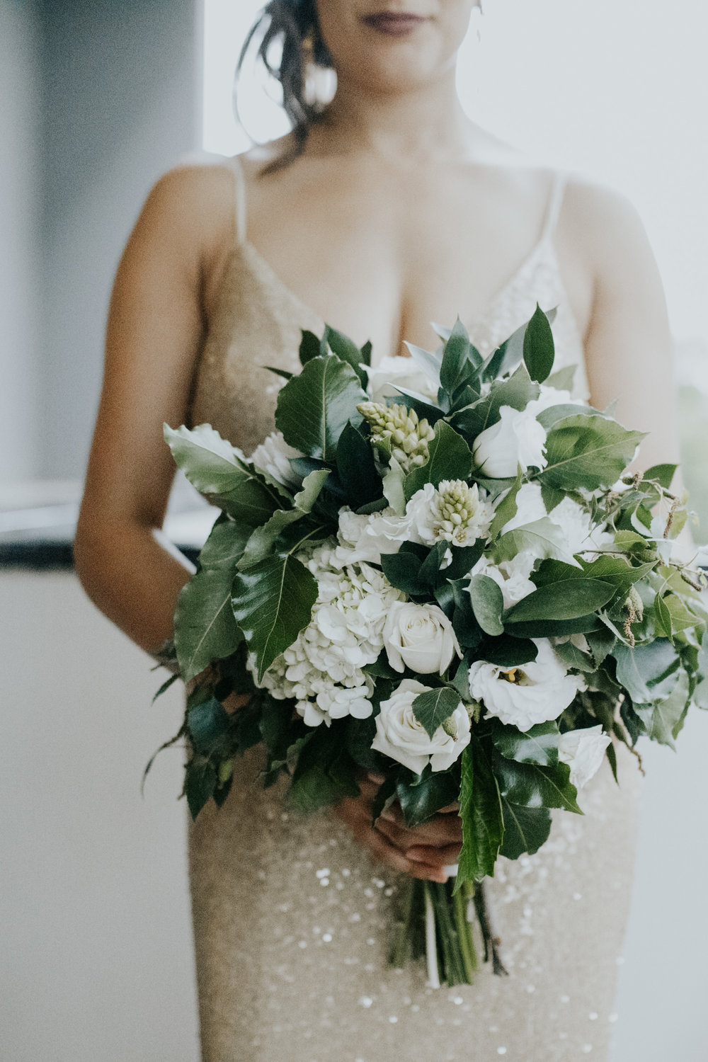 White and green foliage bouquet- Gold wedding dress- Intimate hotel room wedding Canberra - photography by Jenny Wu