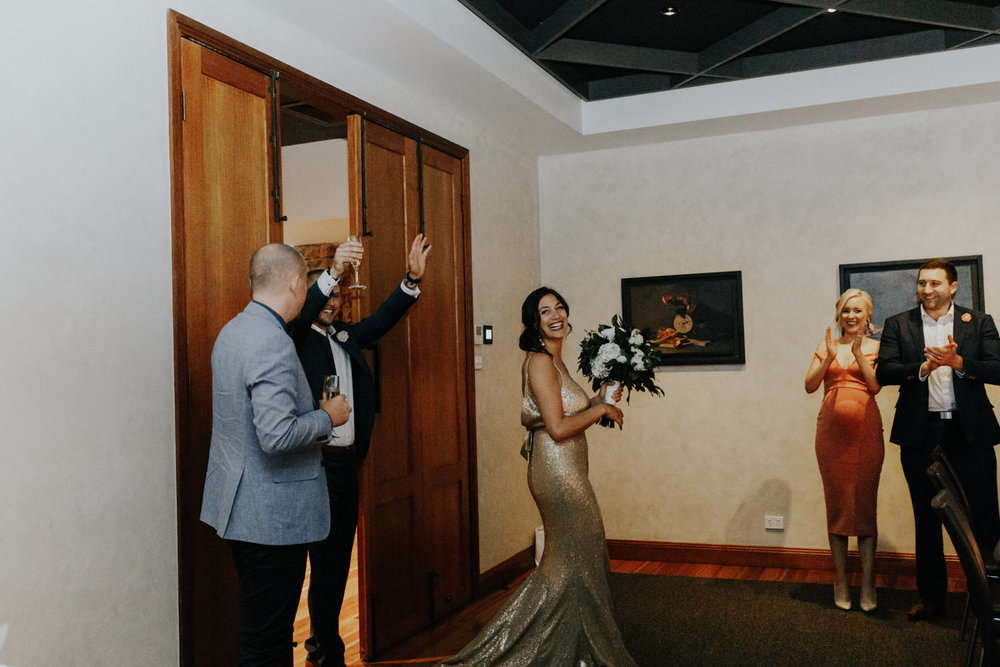 The Boathouse wedding reception Canberra / wedding entrance- photography by Jenny Wu
