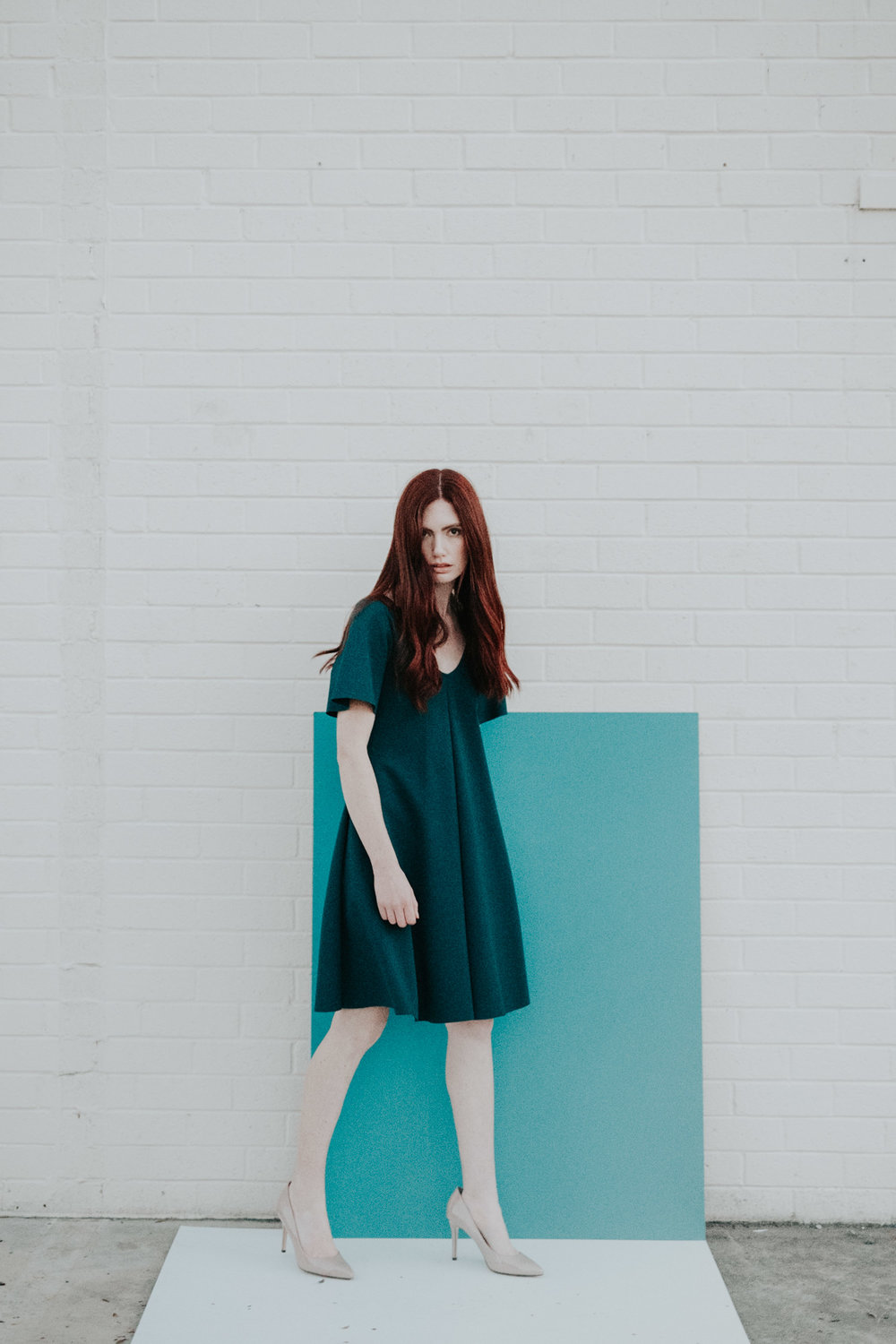 Tonal editorial / blue and green color fashion story featuring Canberra Designs / photography by Jenny Wu Straight No Chaser Canberra at Kingston Bus Depot and Fitters Workshop