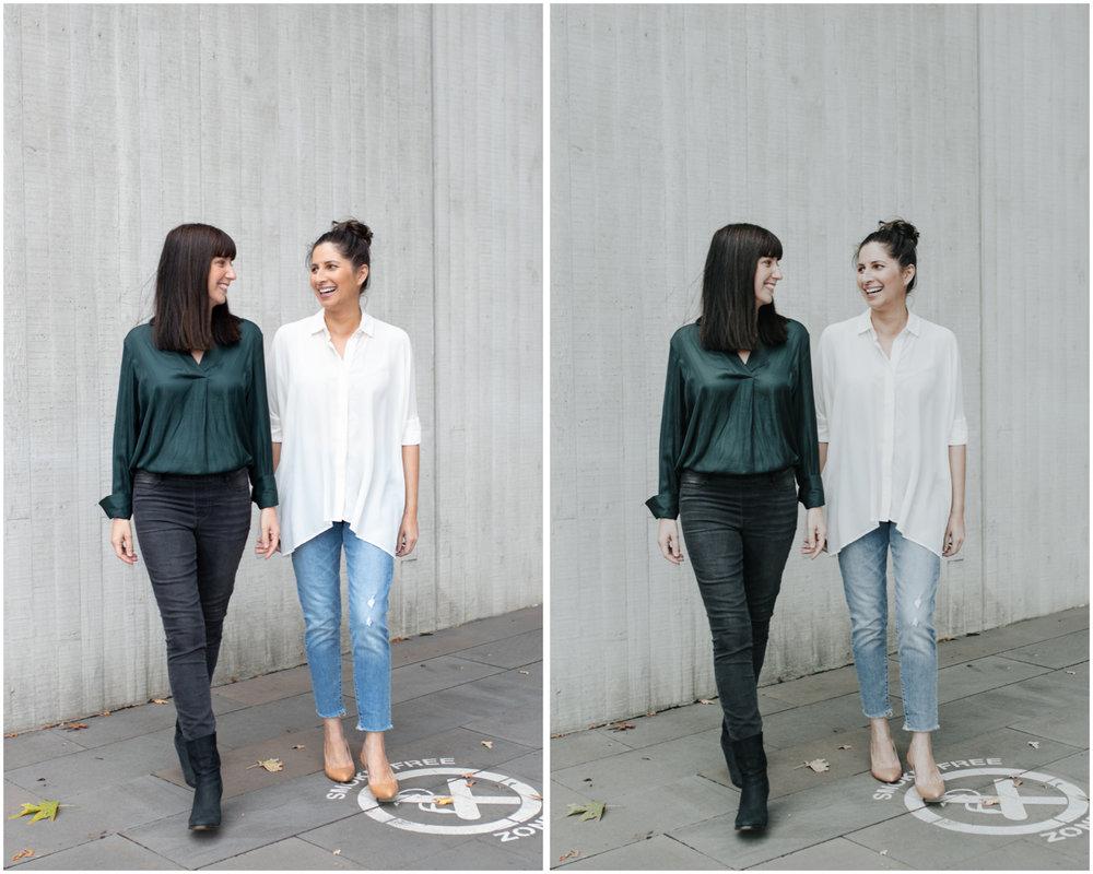 RAW (left), CLEAN DENIM - Preset (right)