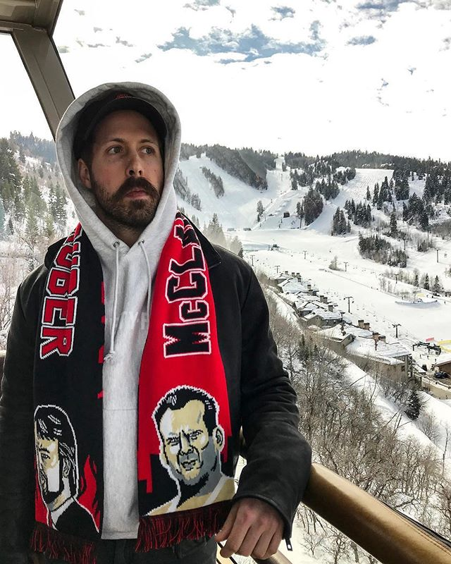 @leer_gold reppin our Die Hard scarf in the snow at Sundance. If you missed out on them get on the mailing list for news on a new batch 🧣