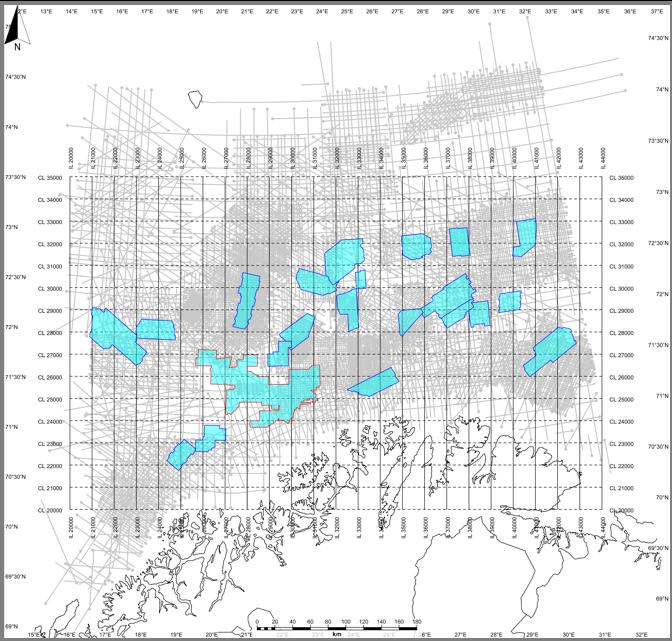 Barents Sea - SEISMIC DATA INPUT• 36 3D volumes - Total area: 23,440 km²• 63 2D surveys - 2,000 2D lines - 147,023 km/lSEISMIC OUPUT SIZE0.387 TB .SEGY0.172 TB PETREL1.040 TB .DUGIOWELLS159 exploration wellbores•119 HQDL (.las)•114 CPI (IP) (.las)•131 tops (NPD) (.txt)•101 checkshots (.txt)