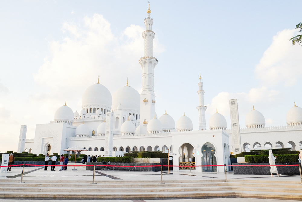 The Sheikh Zayed Grand Mosque - simply magnificent. It opened in 2007, it has as many as 82  white domes  in varying sizes, and it houses the world's largest hand-knotted carpet (5700 square meters).