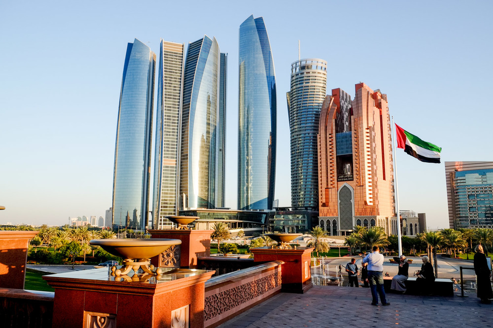 The magnificient Etihad Towers, as seen from the hotel entrance