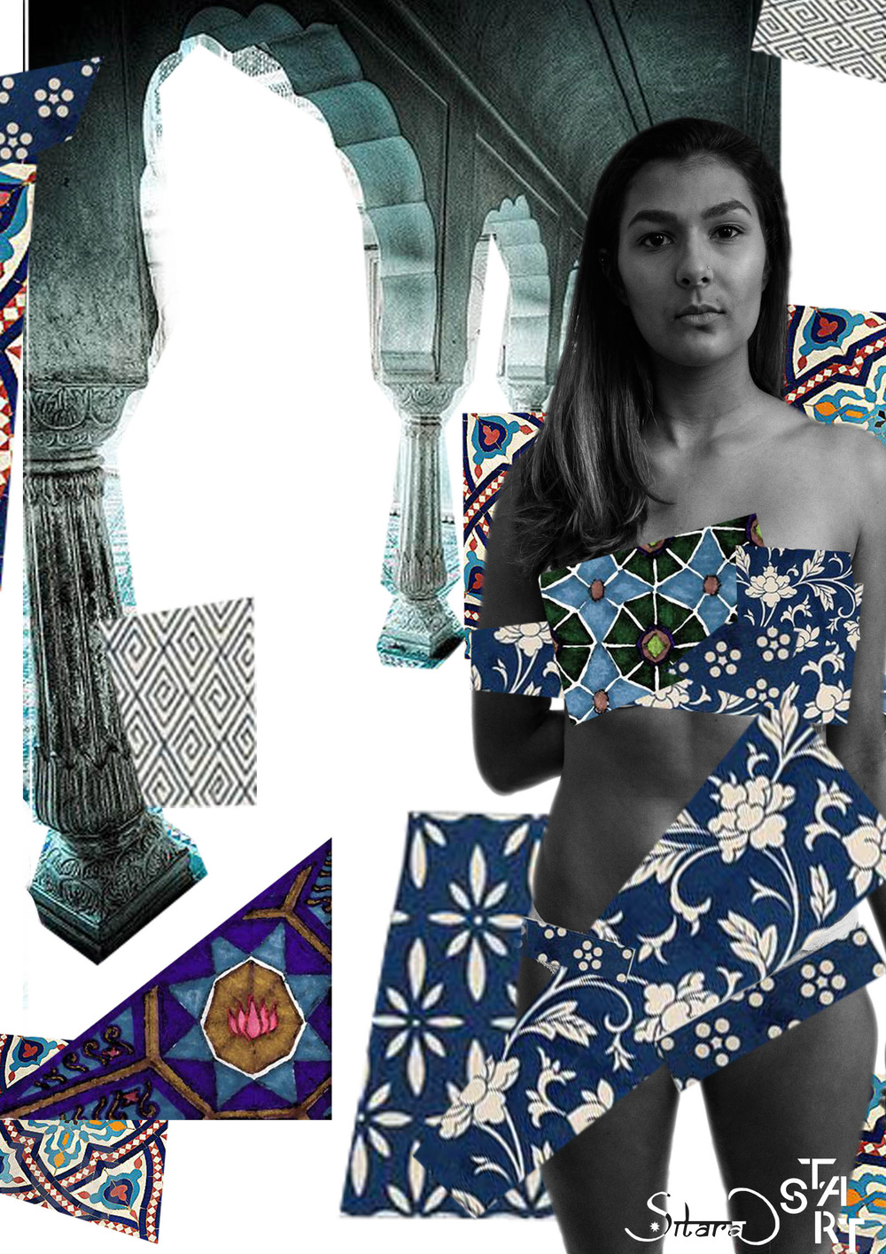 Model: Stephanie Uhlmann. Collage: Neha Luthra.