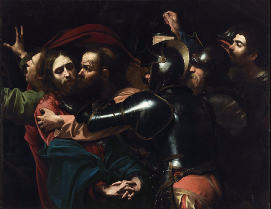 'The Taking of Christ' by Caravaggio sourced from The National Gallery,  https://www.nationalgallery.ie/sites/default/files/styles/content_hero/public/2017-04/w1500-Caravaggio-Taking-Christ.jpg?itok=9kKcy-bm
