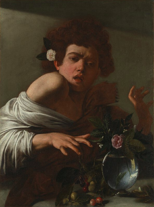 'Boy Bitten by a Lizard' by Caravaggio sourced from The National Gallery, https://www.nationalgallery.org.uk/server.iip?FIF=%2Ffronts%2FN-6504-00-000048-WZ-PYR.tif&CNT=1.0&WID=800&HEI=800&QLT=85&CVT=jpeg