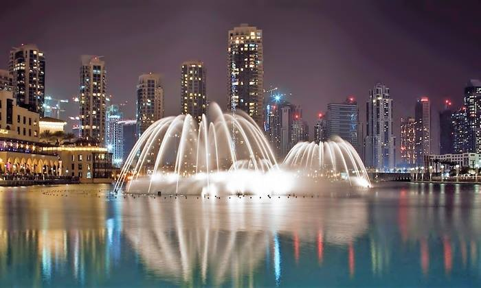 Photograph of the Dubai Fountain sourced from  https://www.groupon.ae/deals/the-dubai-fountain-boardwalk