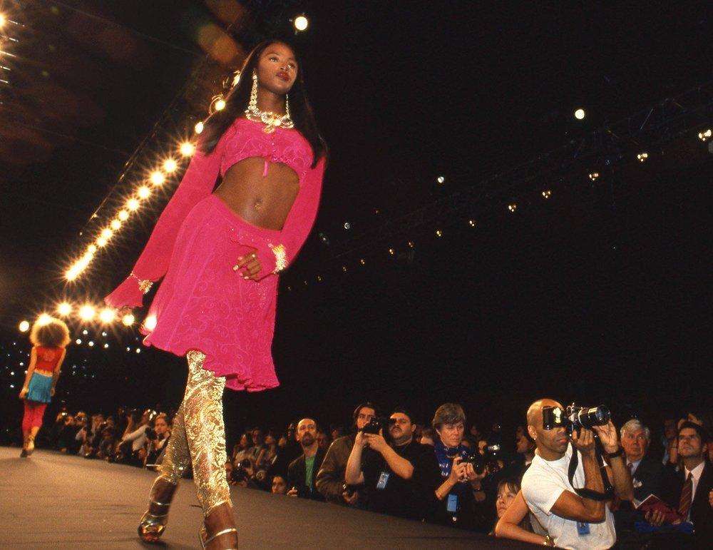 Naomi Campbell on the runway at a Ghost fashion show in 1995