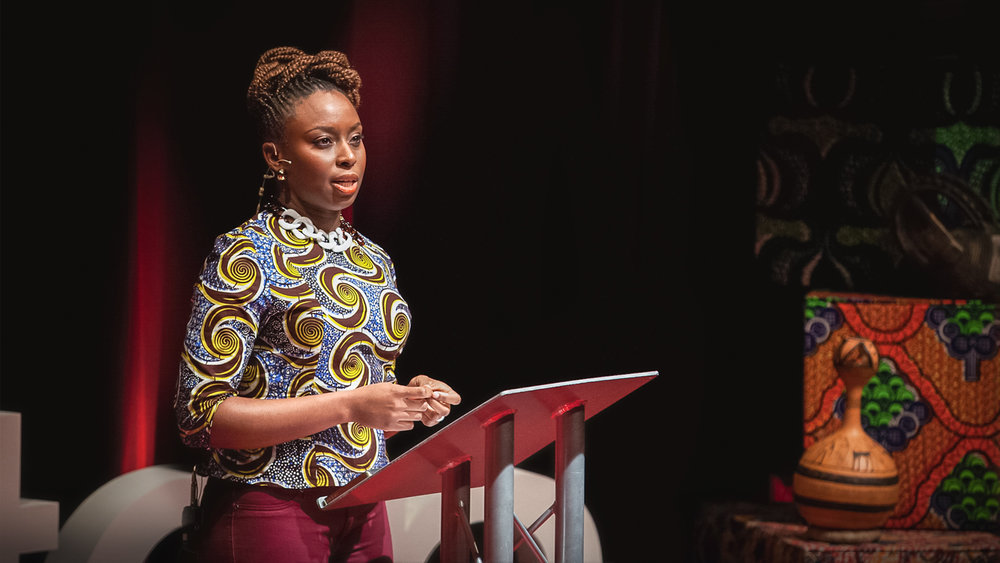 "Chimamanda Ngozi Adichie speaking at her ""We Should All Be Feminists"" TED Talk in 2012"