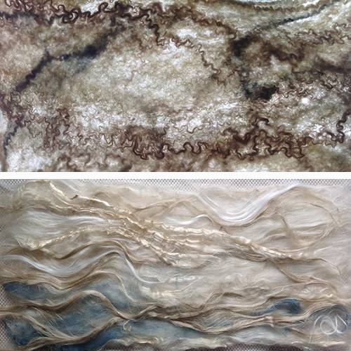 Bottom: Laying out plant fibers with wool to be felted as one.  Top: As the wool fibers shrink the plant fibers gather in impressive textures.