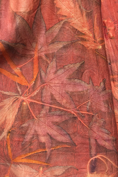 Botanical print on madder dyed silk by student Marina, 2017.